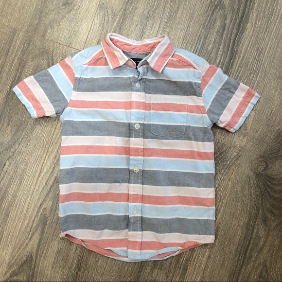 NWT The Childrens Place Boys Blue Striped Oxford Button-Down Shirt